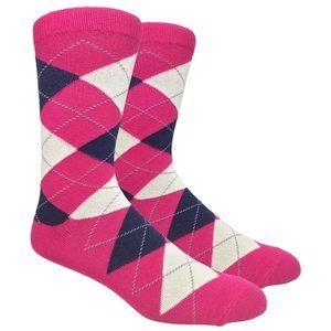 Men's Fuchsia Printed Argyle Dress Socks